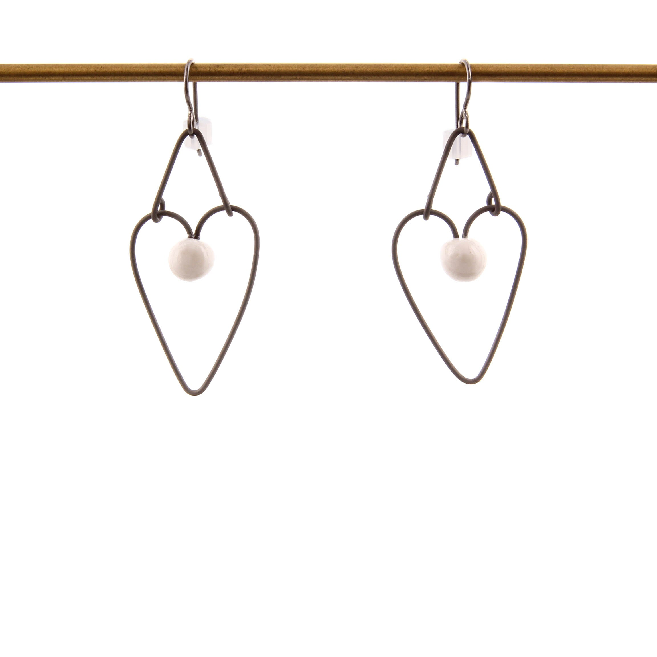Jennifer Allen, Ceramic and Metal Heart Shaped Earrings