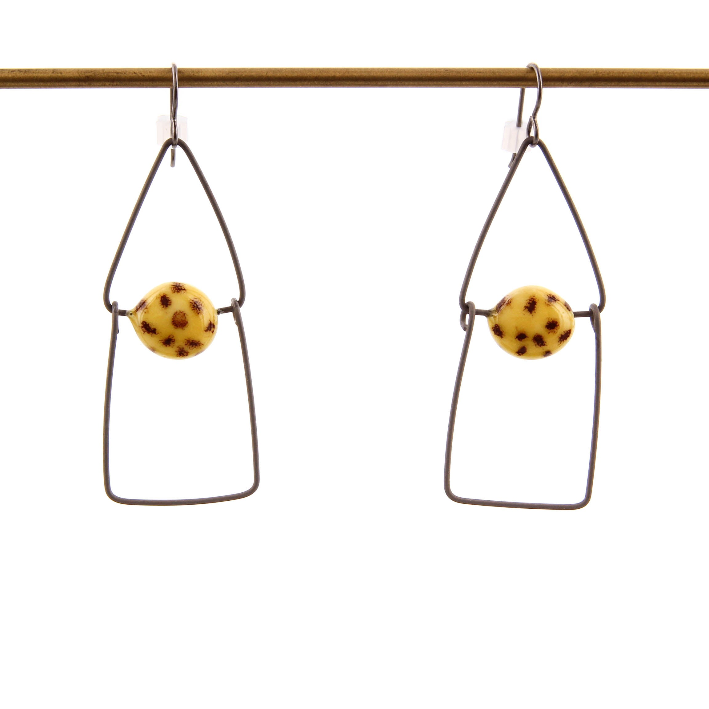 Jennifer Allen, Ceramic and Metal Earrings in Yellow