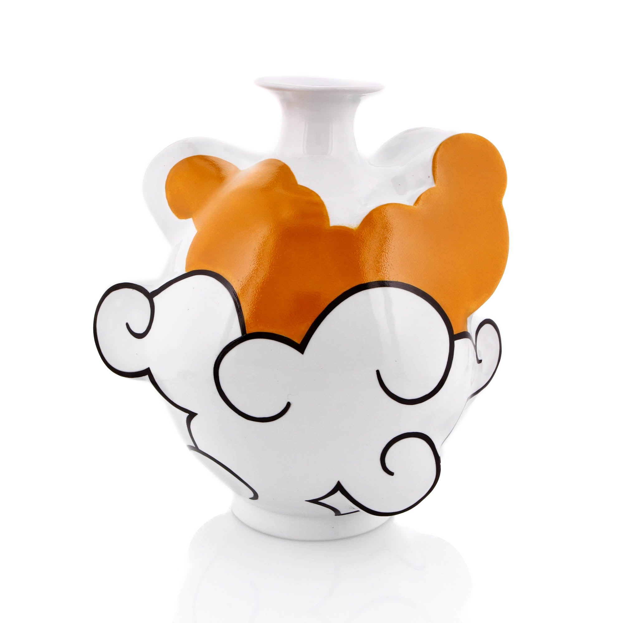 Sam Chung, Cloud Vase, Porcelain with Orange and Black