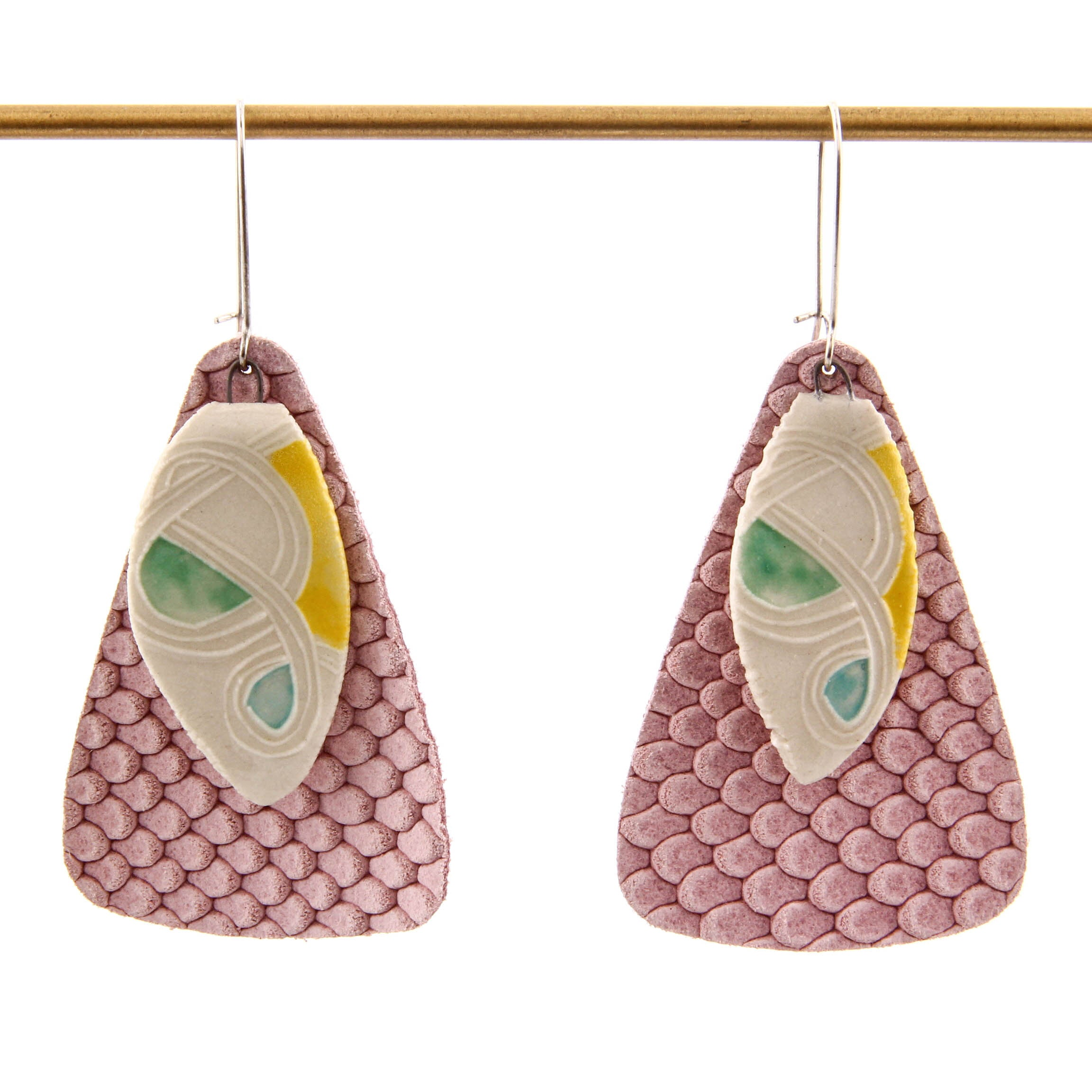 Carole Epp, Long Earrings with Porcelain and Fabric