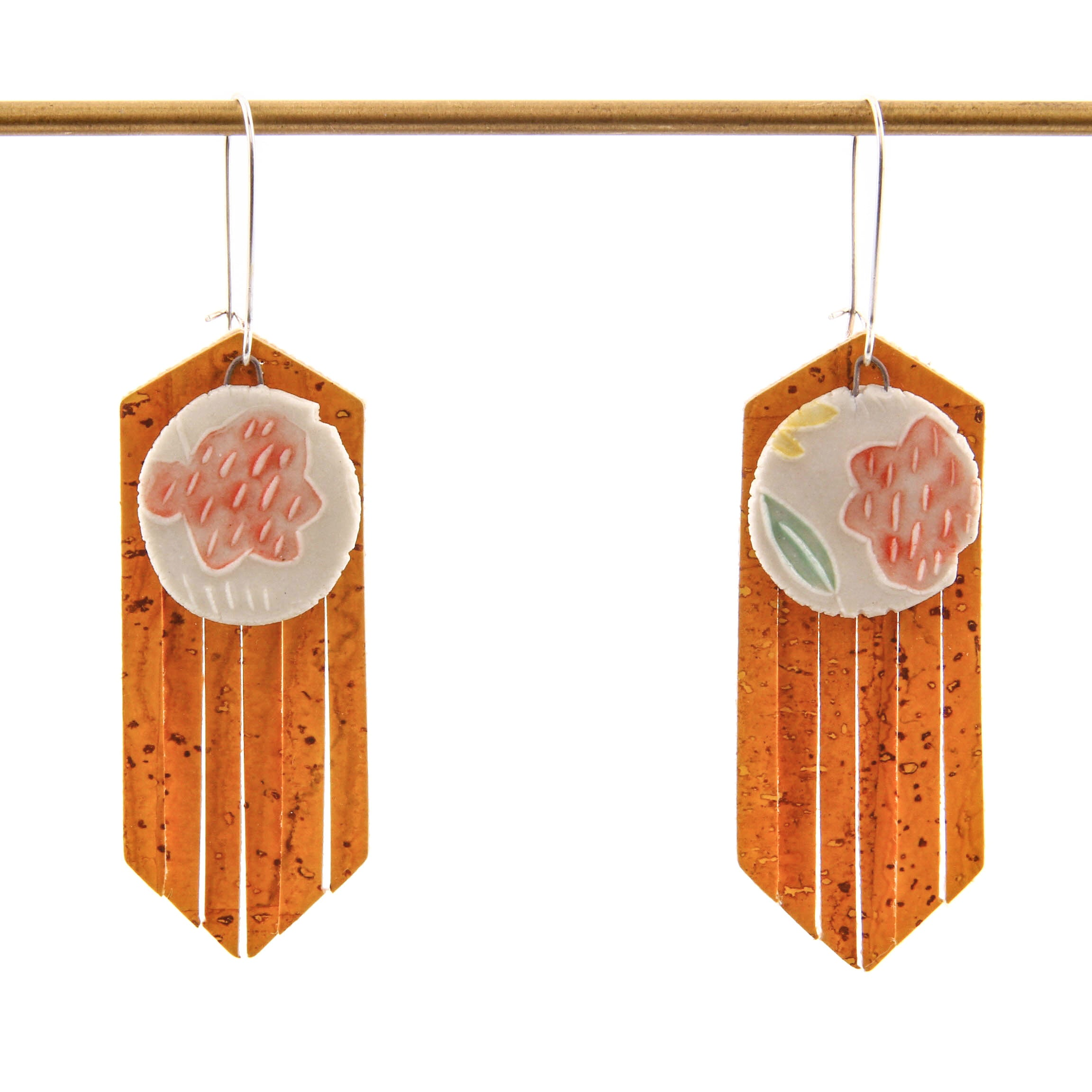 Carole Epp, Earrings with Ceramics and Fabric