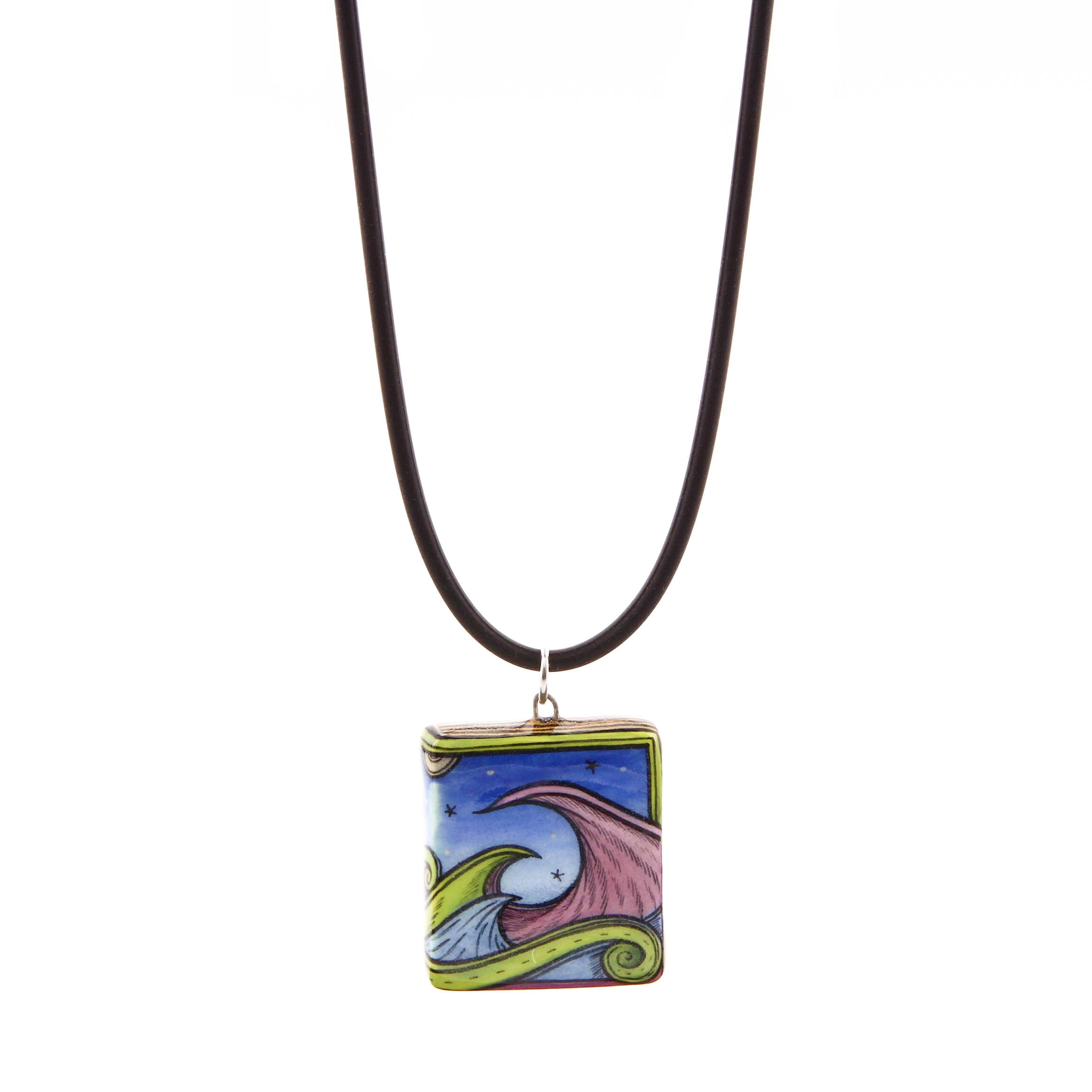 Terri Kern, Ceramic Necklace with Waves with Silicon Band