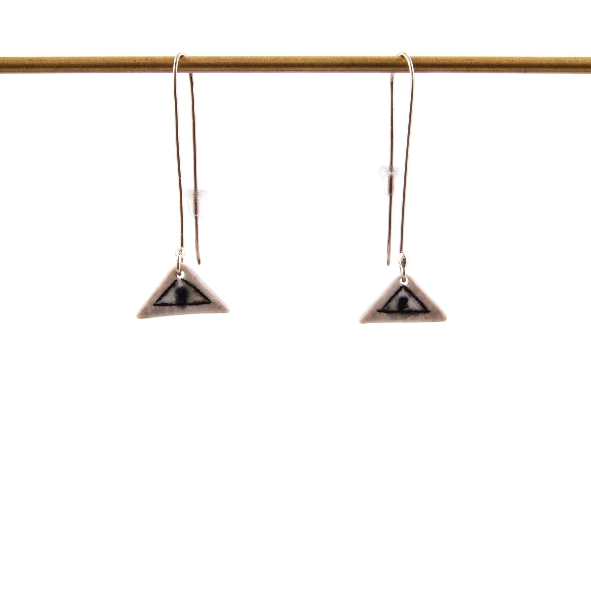 Lorna Meaden, Porcelain Triangle Earrings with Dots