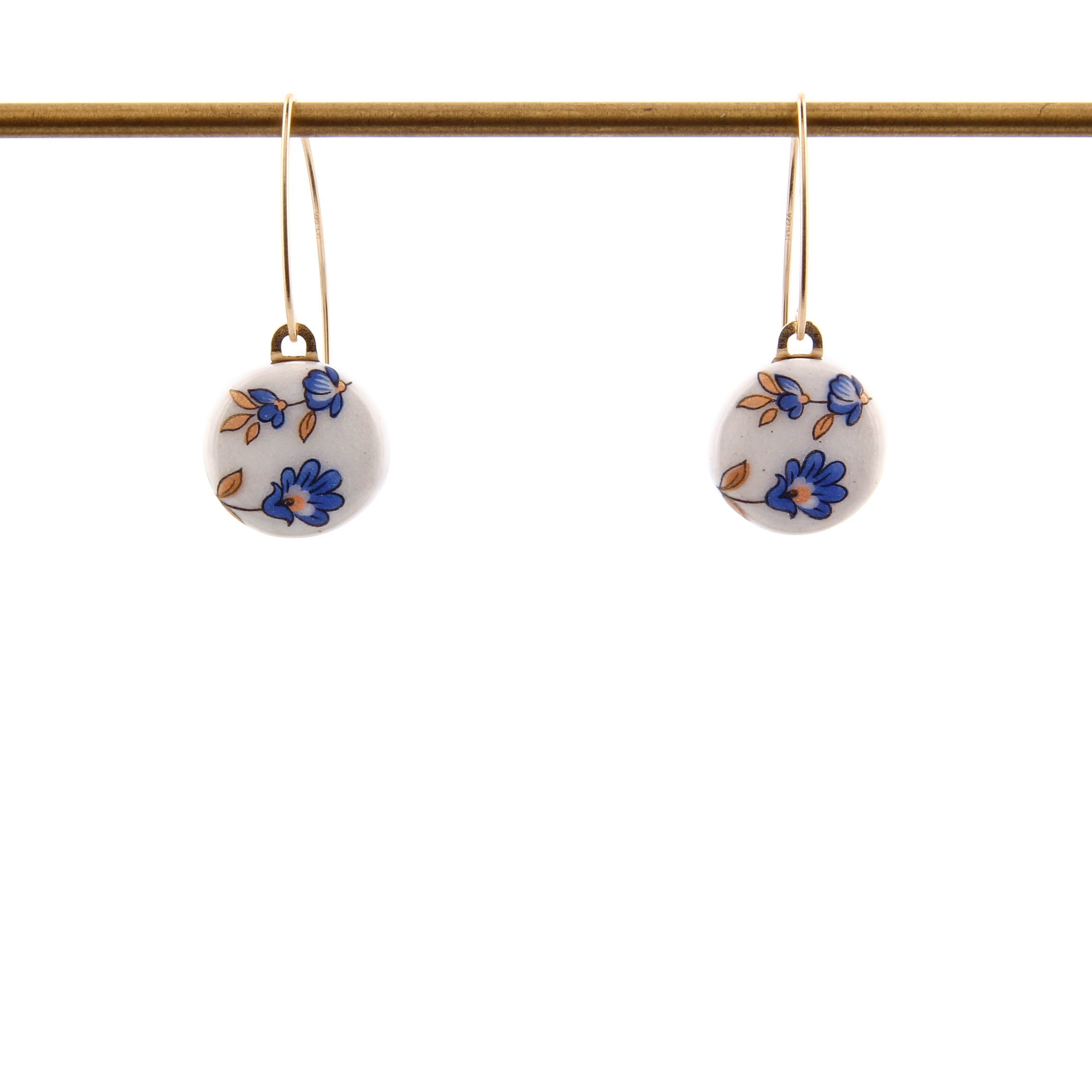 Melanie Sherman, Blue Flower on White Porcelain Earrings