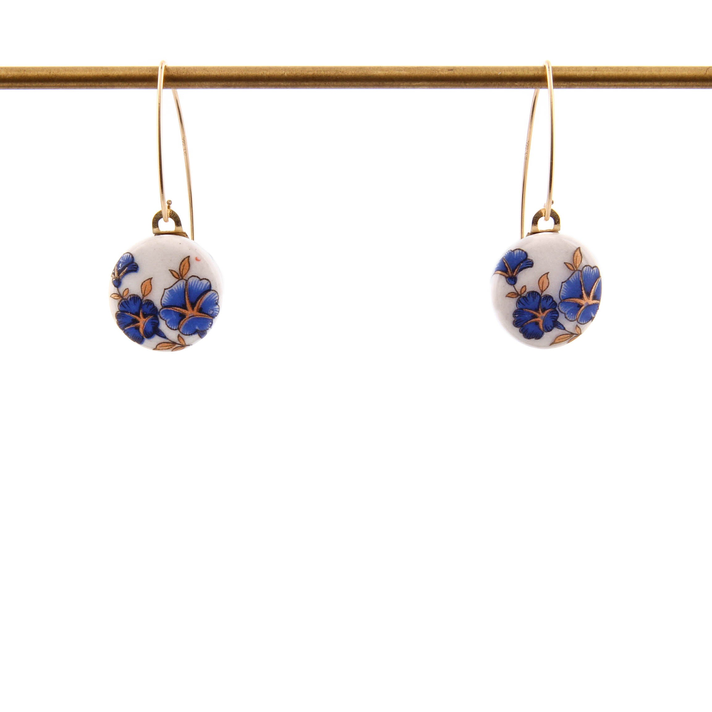Melanie Sherman, Blue Flowers on White Porcelain Dangle Earrings