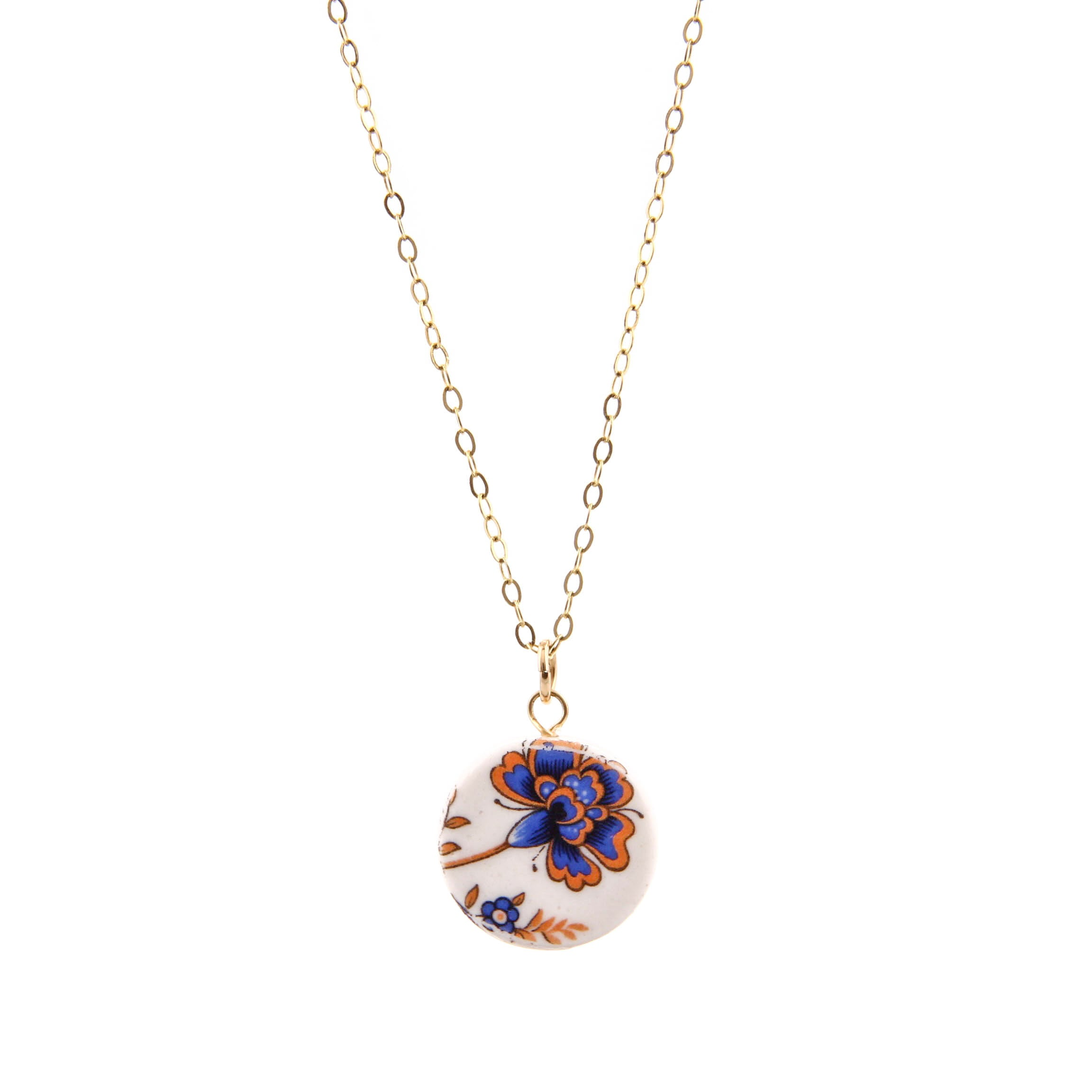 Melanie Sherman, Blue Flower on White Porcelain Necklace