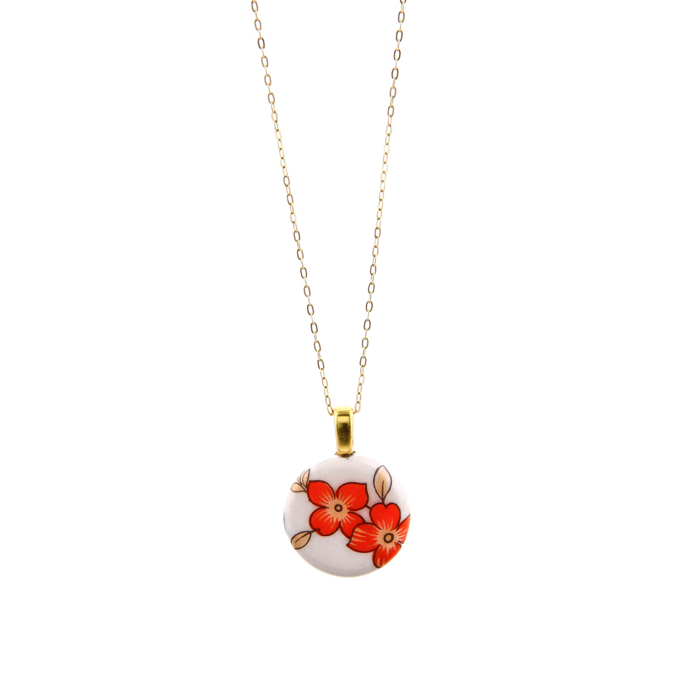 Melanie Sherman, Red Flower on White Porcelain Necklace