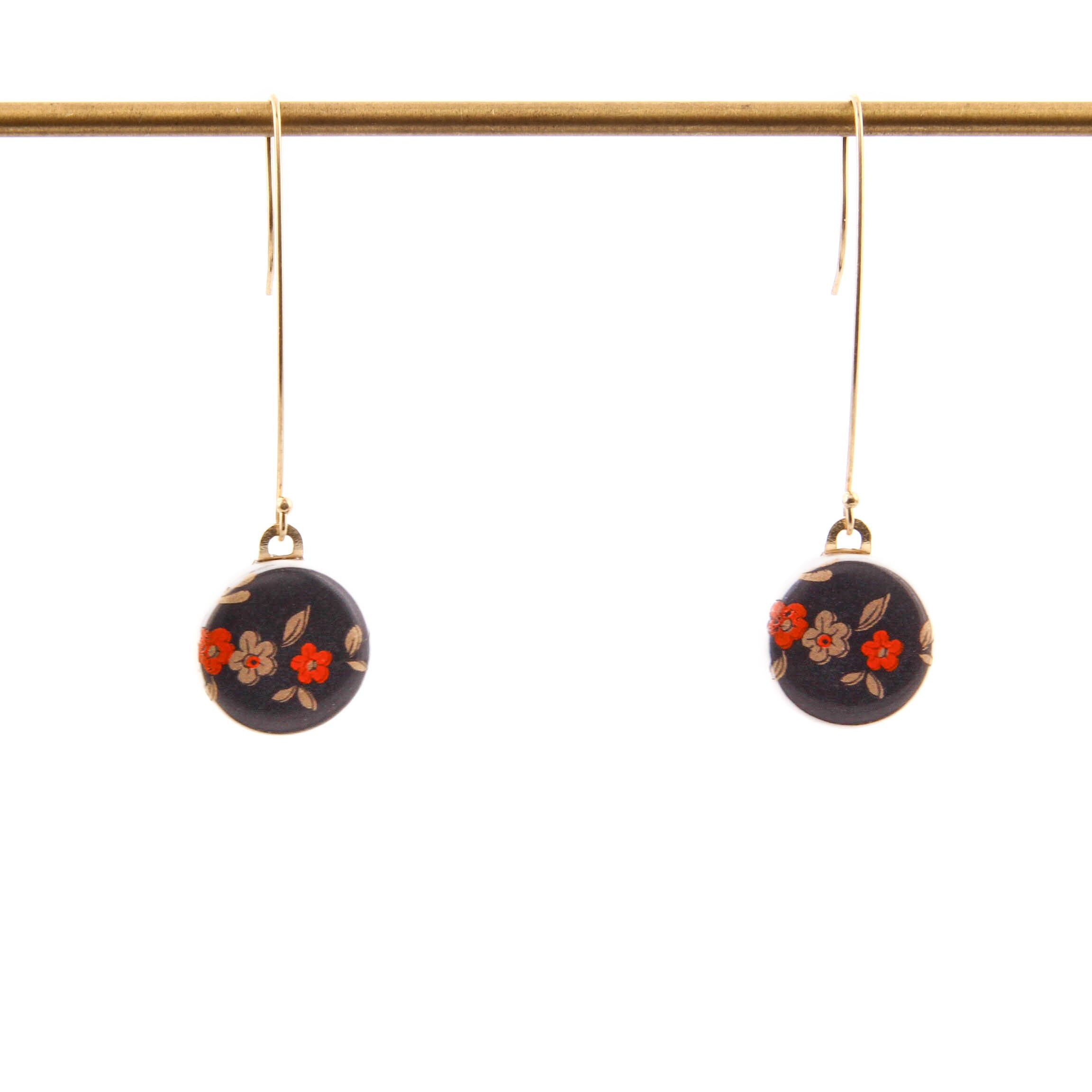 Melanie Sherman, Red Flowers on Porcelain Dangle Earrings