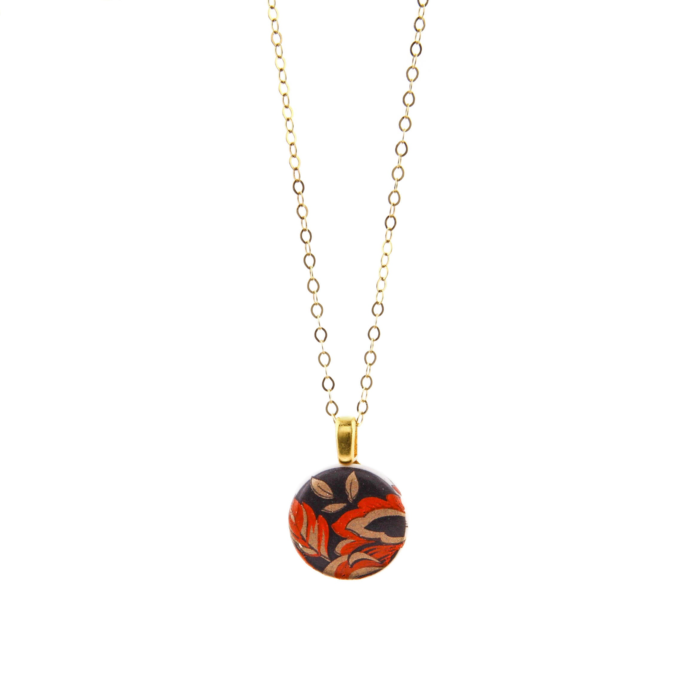 Melanie Sherman, Red Flower on Black Porcelain Pendant Necklace
