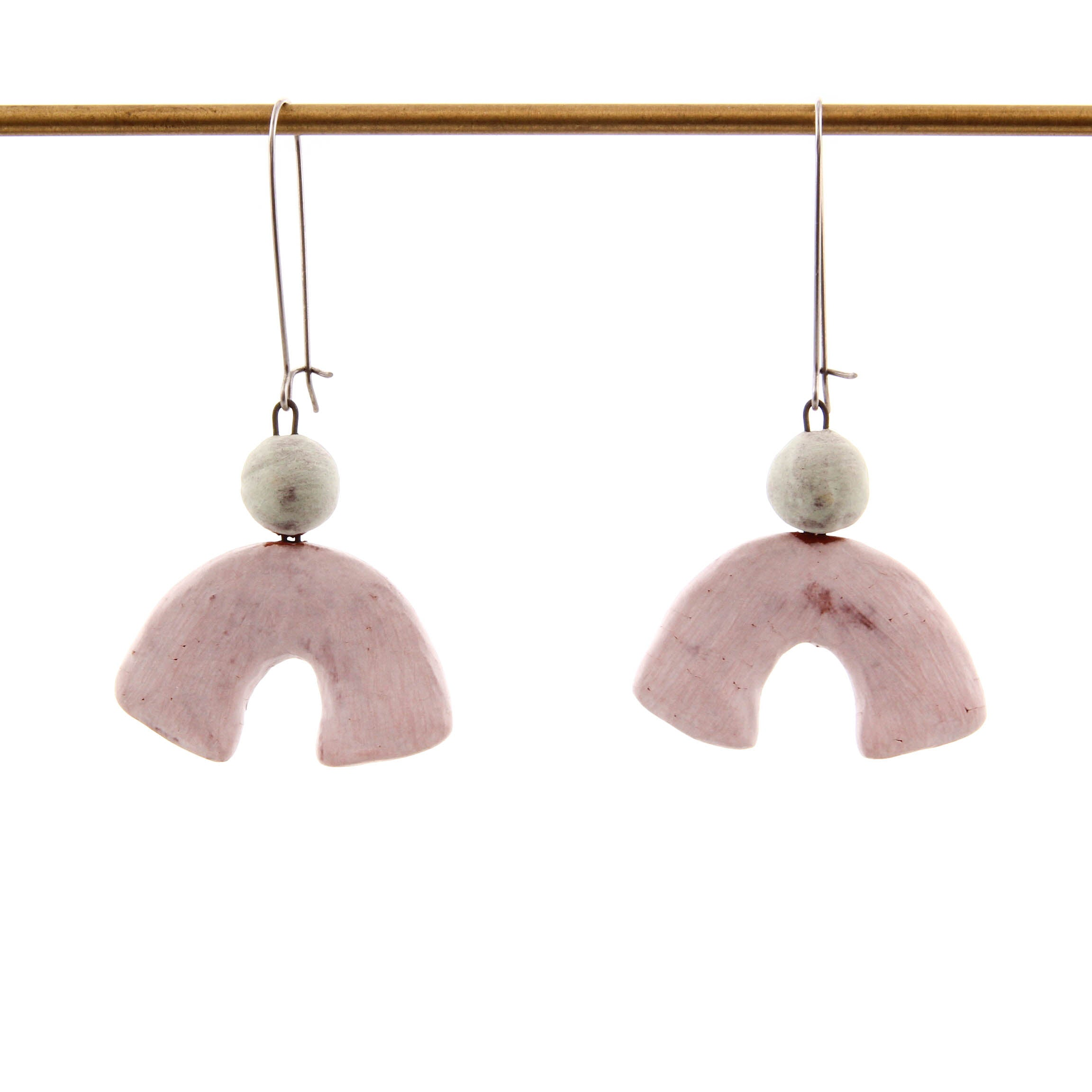 Tara Underwood, Arches Earrings in Pink and White