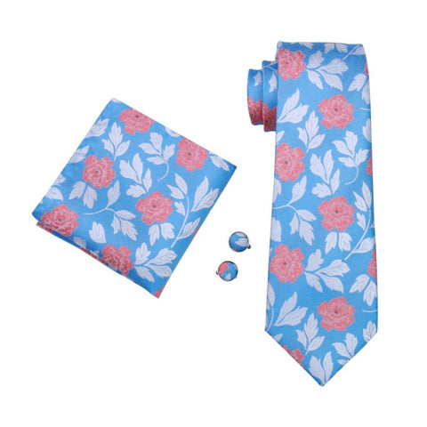 Flying Peonies Tie Set - neck - Ply Tie