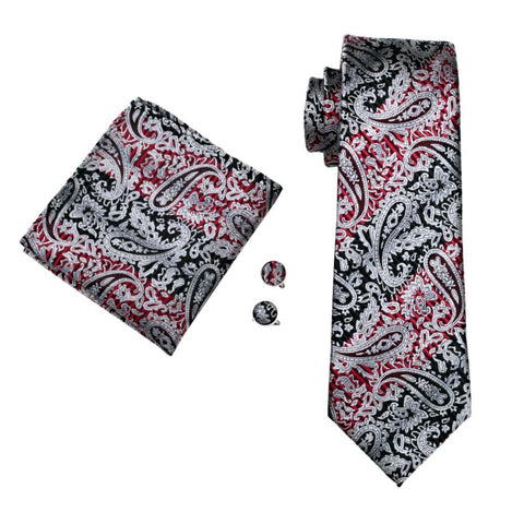 Melted Grey Red Tie Set - neck - Ply Tie