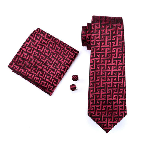 Red Greek Tie Set - neck - Ply Tie