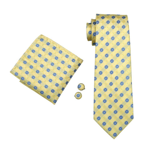Yellow Garden Bloom Tie Set - neck - Ply Tie