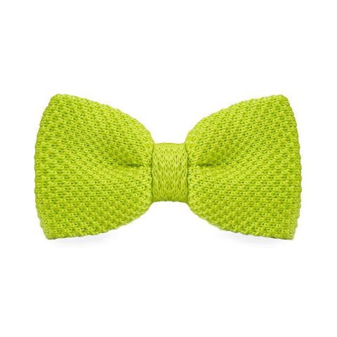Lime Green Knitted Bow Tie - bow - Ply Tie
