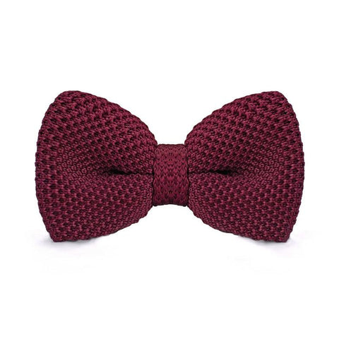 Wine Red Knitted Bow Tie - bow - Ply Tie