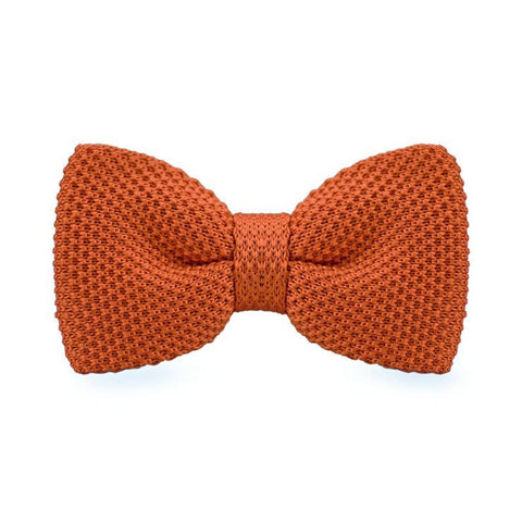 Deep Orange Knitted Bow Tie - bow - Ply Tie