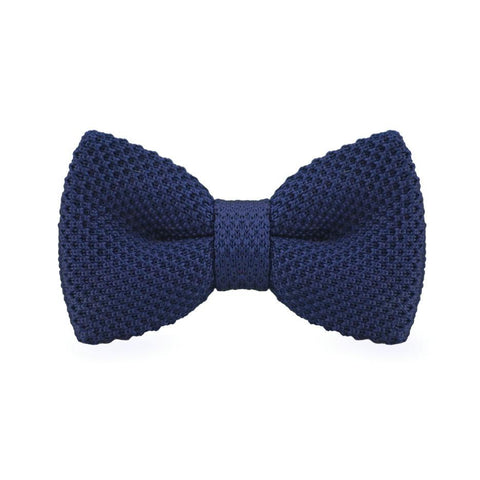 Dark Blue Knitted Bow Tie - bow - Ply Tie