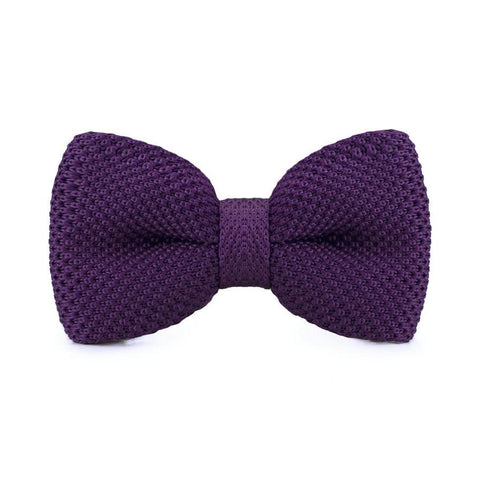 Dark Purple Knitted Bow Tie - bow - Ply Tie
