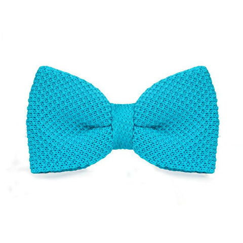 Light Blue Knitted Bow Tie - bow - Ply Tie