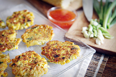 Spicy Sweetcorn Fritters with Sweet Chilli Sauce