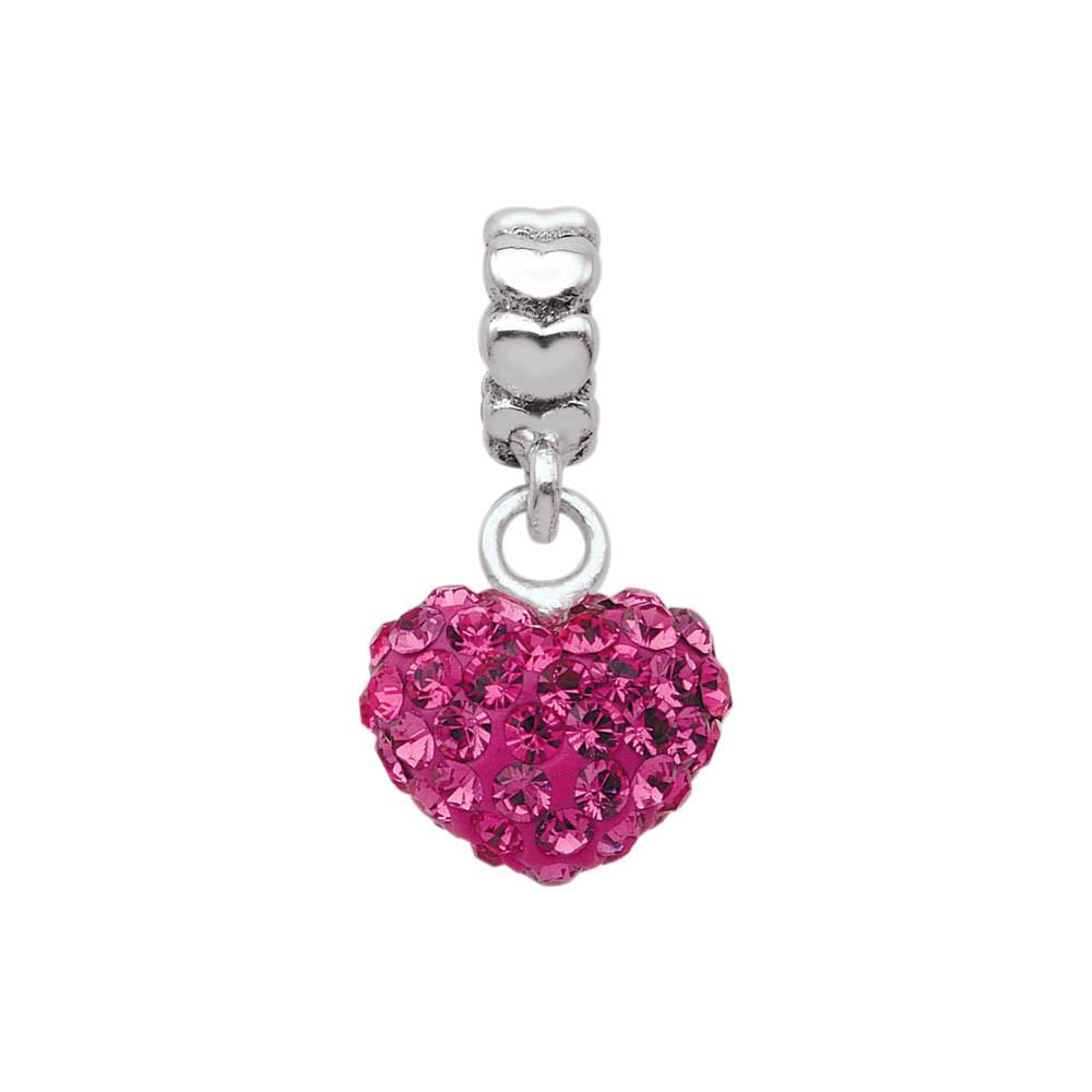 Blushing Heart Personagirl charm Sterling Silver Pink