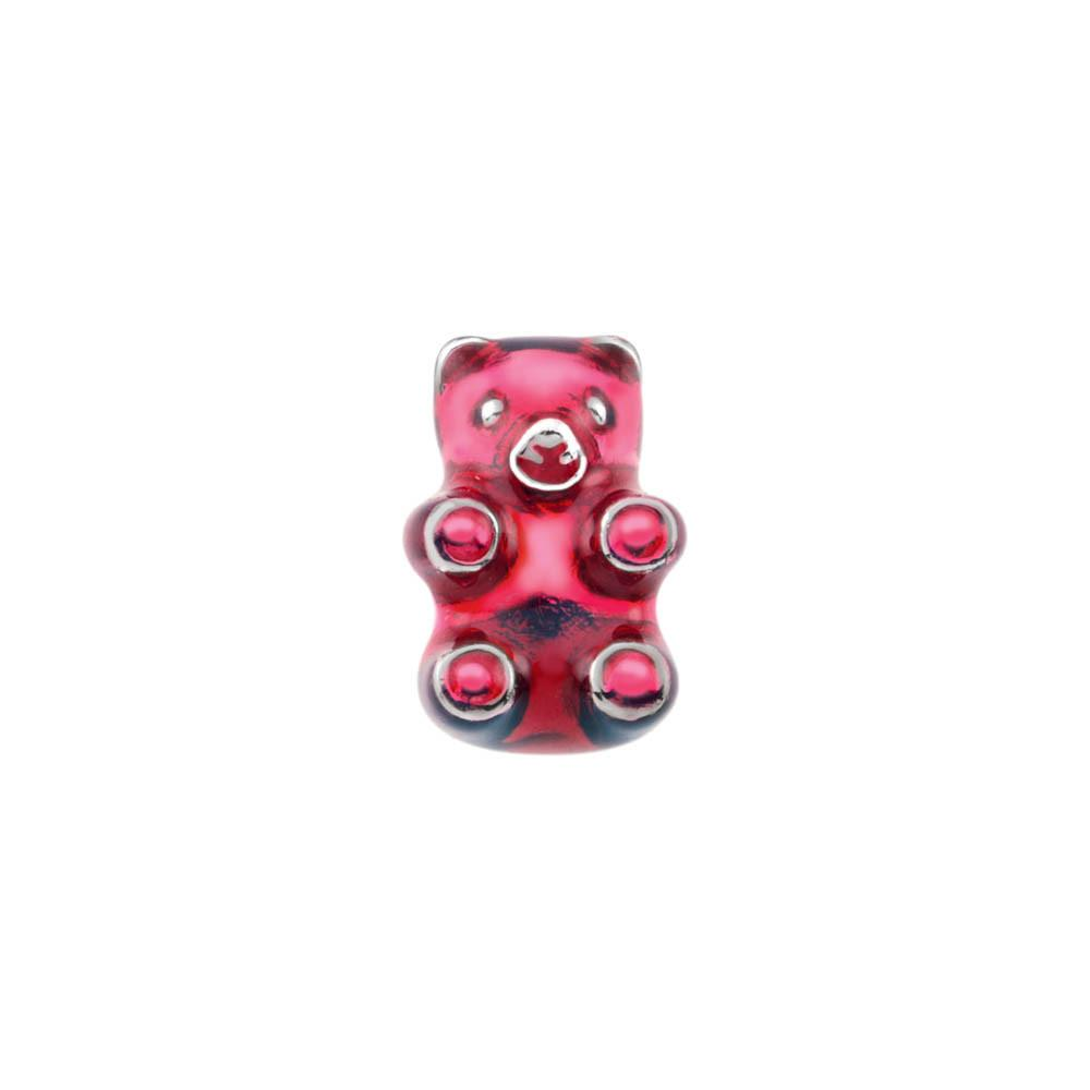 Red Cherry Gummy Bear Personagirl charm Sterling Silver Red