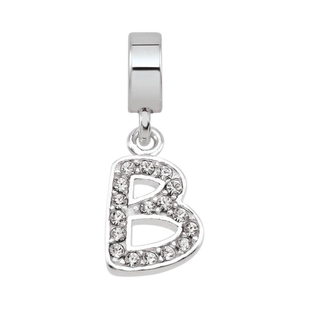 Letter B Crystal Personagirl charm Sterling Silver White