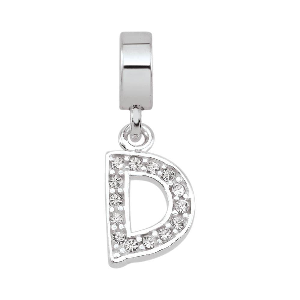 Letter D Crystal Personagirl charm Sterling Silver White