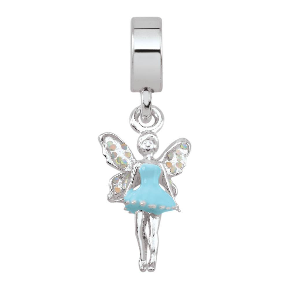 Fairy Personagirl charm Sterling Silver Blue