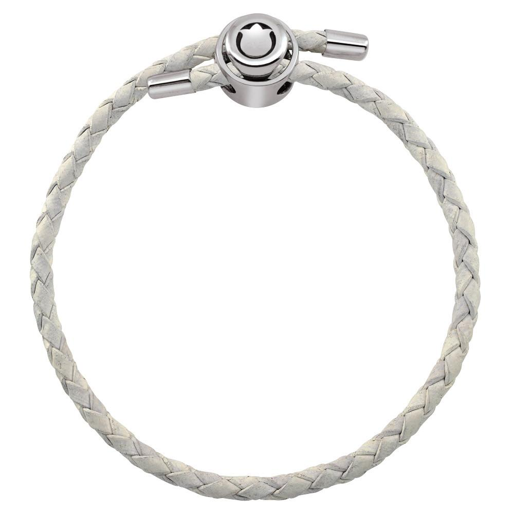 White Single Wrap Braided Leather