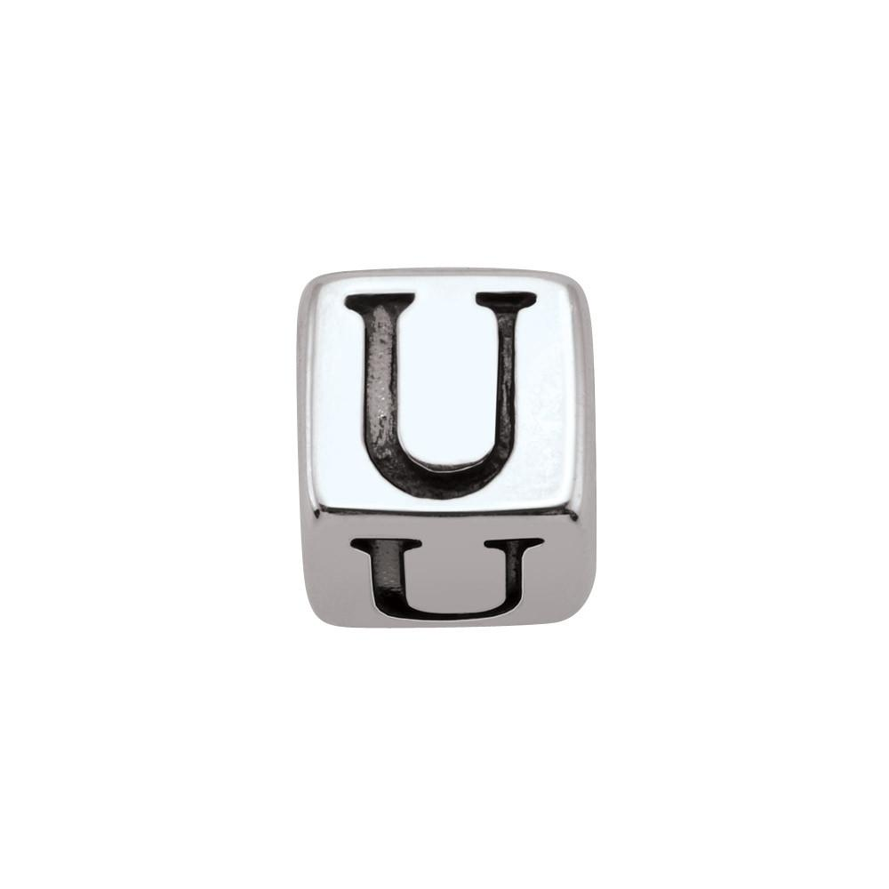 Sterling Silver Initial U Persona Jewelry style Beads parentcolor Silver