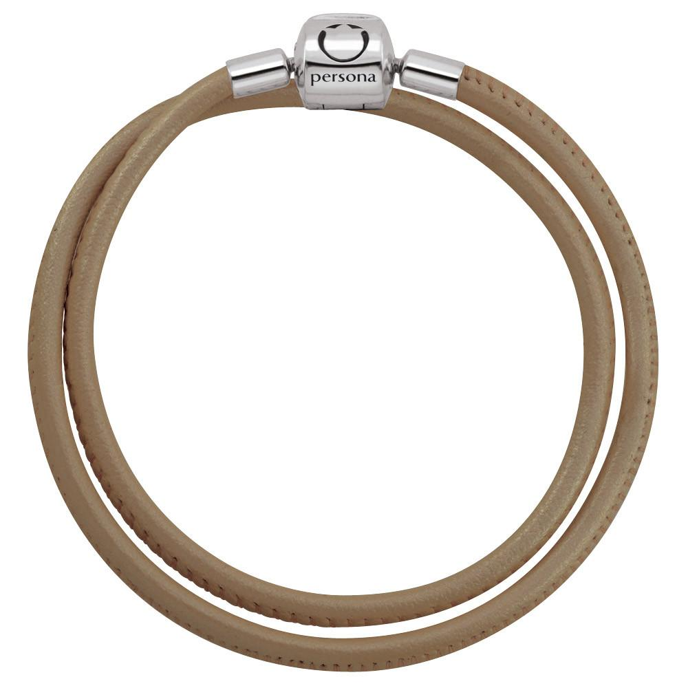 Bronze Double Wrap Nappa Leather Bracelet with Barrel Clasp