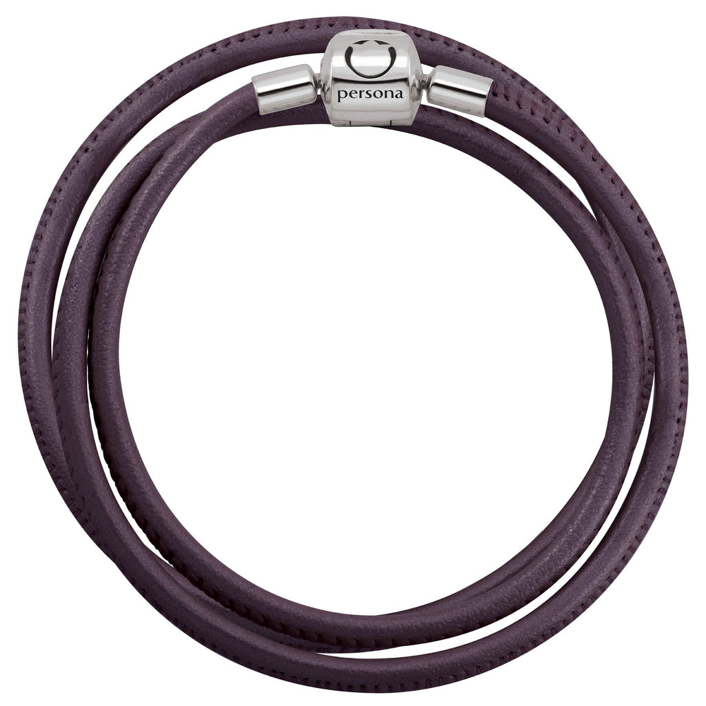 Purple Double Wrap Nappa Leather Bracelet with Barrel Clasp Persona Jewelry style Bracelets parent Purple
