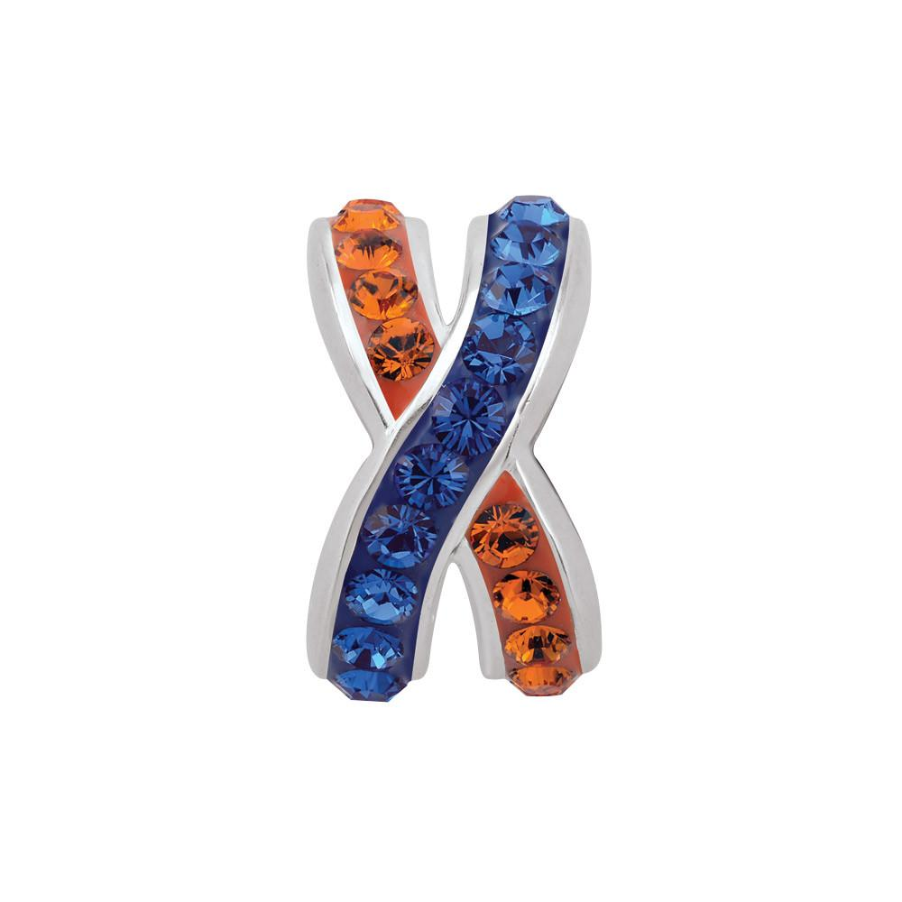 Blue Orange criss-cross  Campus Life Charms Sterling Silver Crystal & CZ University of Florida schools