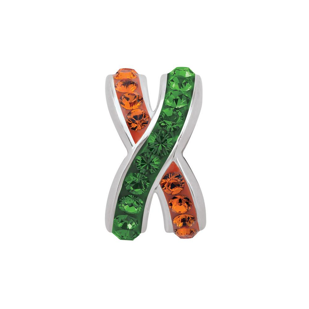 Green Orange criss-cross  Campus Life Charms Sterling Silver Crystal & CZ University of Miami schools