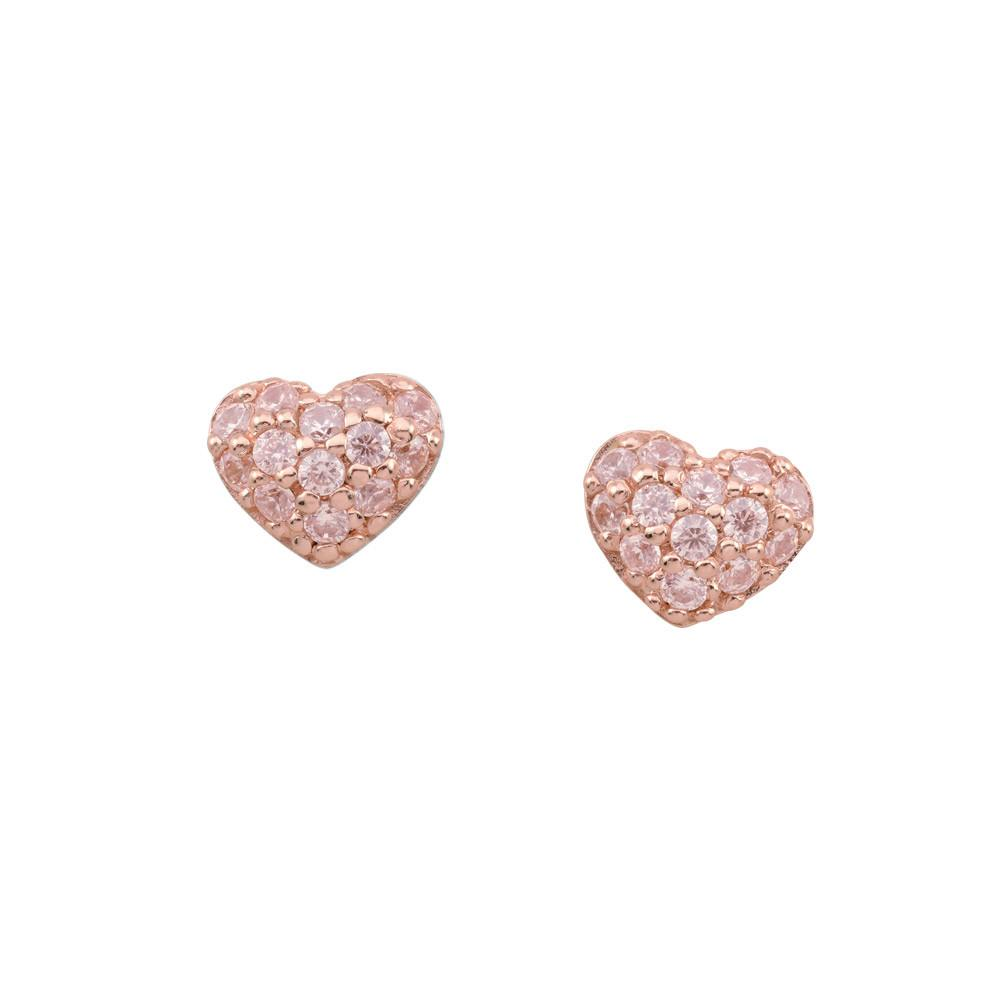 Rose Pavé Heart Studs Persona style-Earrings finish-Rose Gold parentcolor-Rose Gold
