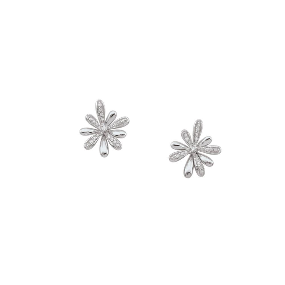 Flower Studs  Persona style-Earrings finish-Sterling Silver parentcolor-White