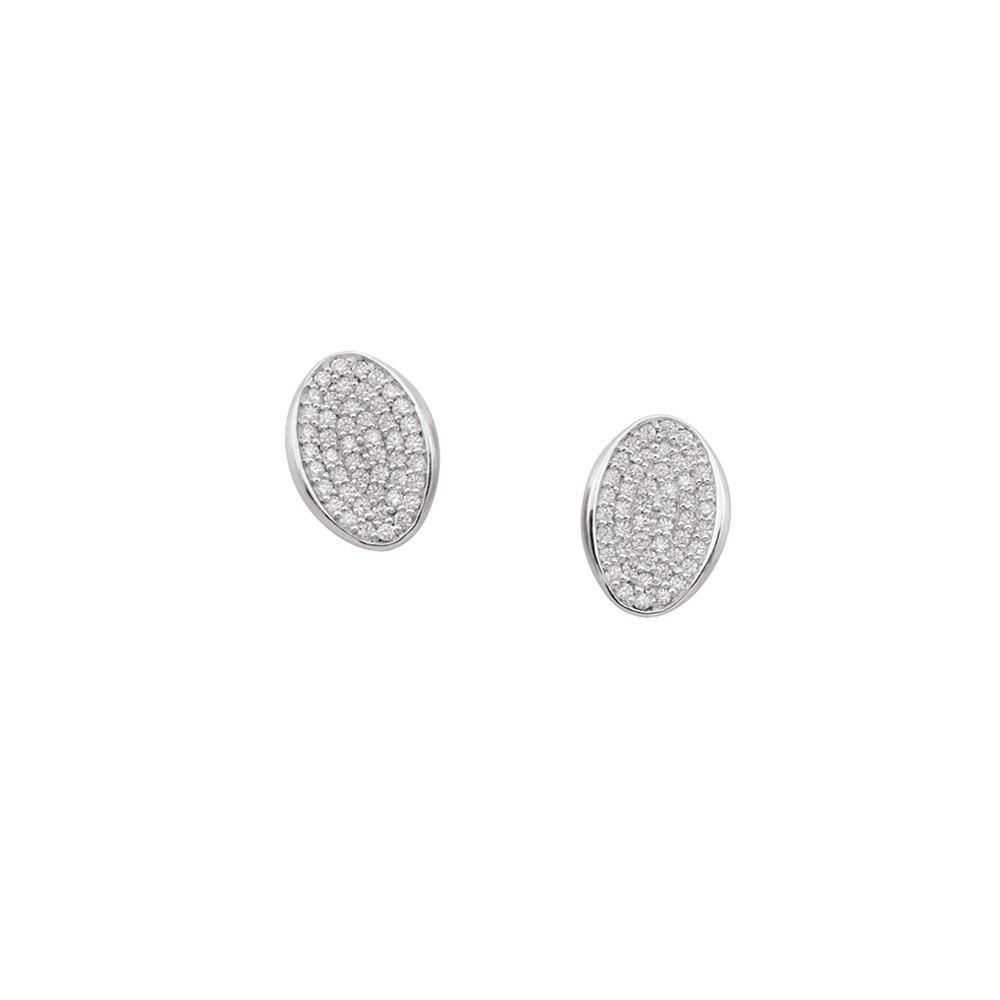 Oval Studs  Persona style-Earrings finish-Sterling Silver parentcolor-White