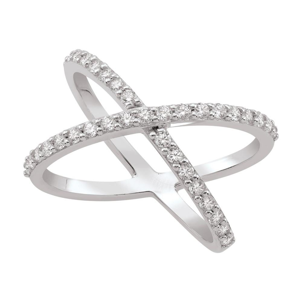 Pavé X Ring  Persona style-Rings finish-Sterling Silver parentcolor-White