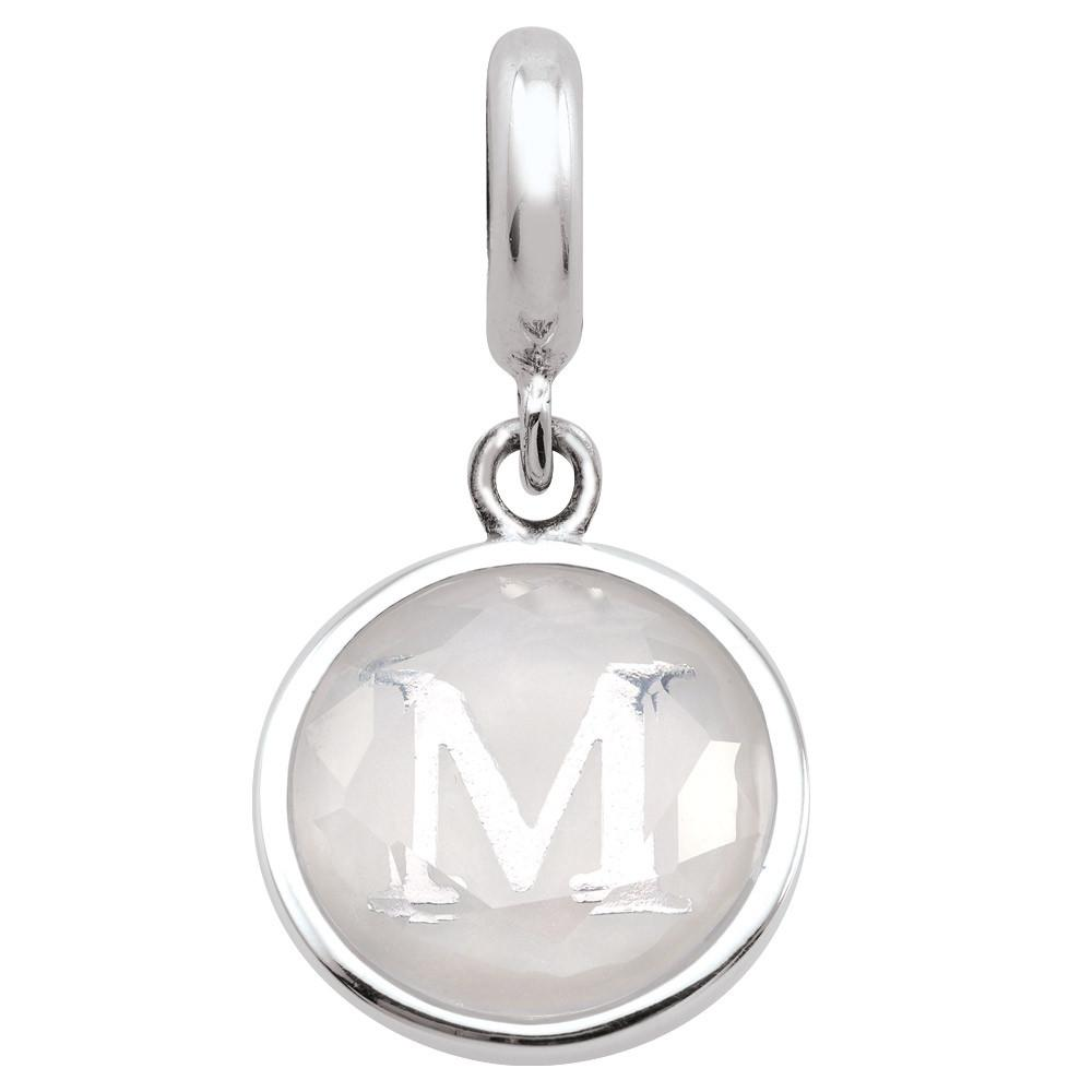 Monogram M  Charms theme Alphabet & Numbers  White