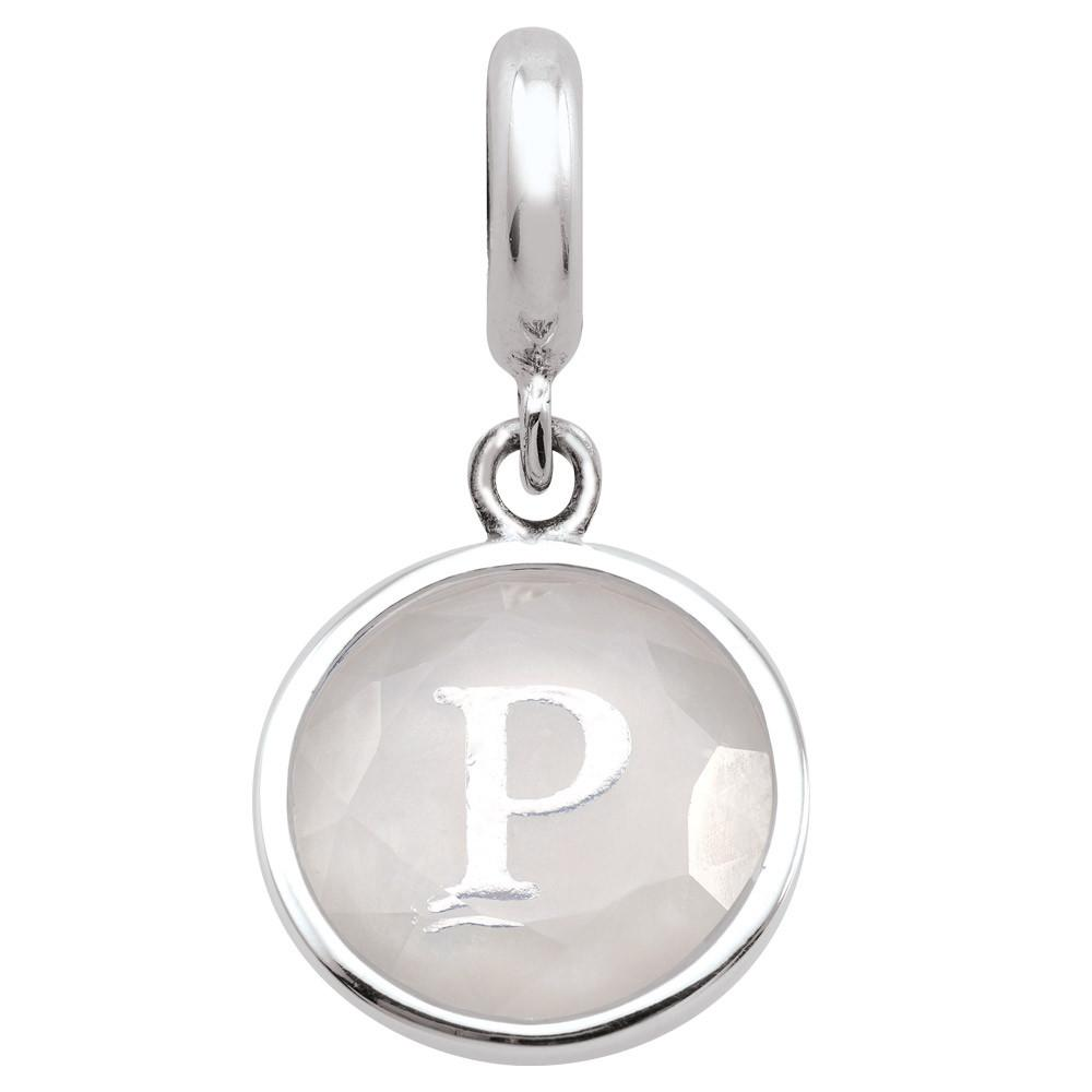 Monogram P  Charms theme Alphabet & Numbers  White