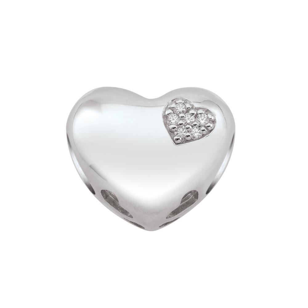 Diamond Heart Persona Jewellery Charms Sterling Silver Valentine's Love Collection