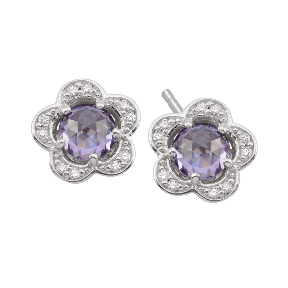 Birthstone Silver Charm June Flower Studs