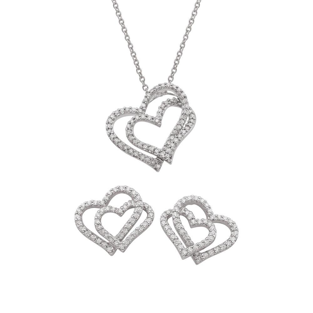 Sterling Silver heart pendant and earrings