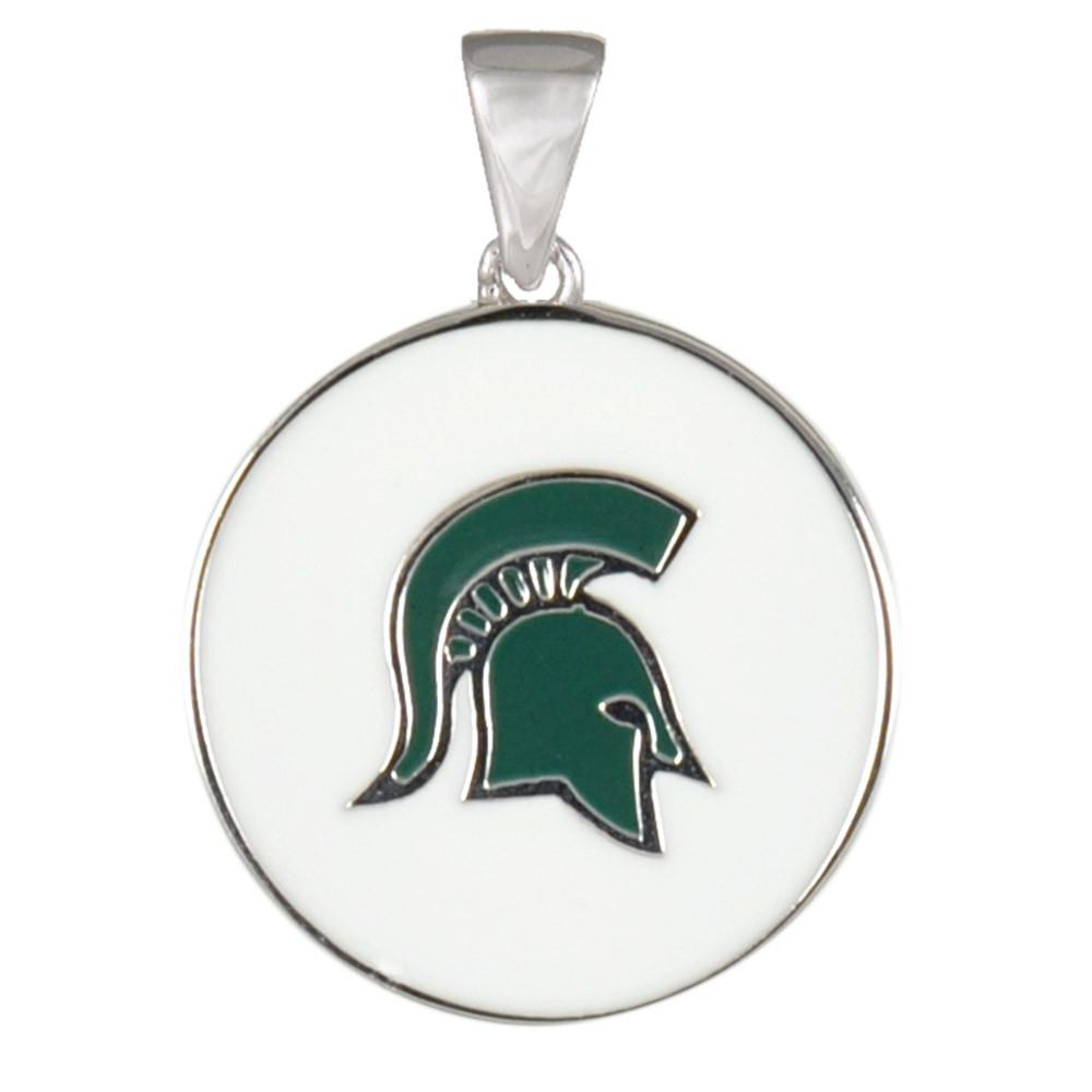 Michigan State Spartans Pendant Campus Life style Necklaces Sterling Silver Enamel Collegiate Michigan State University schools