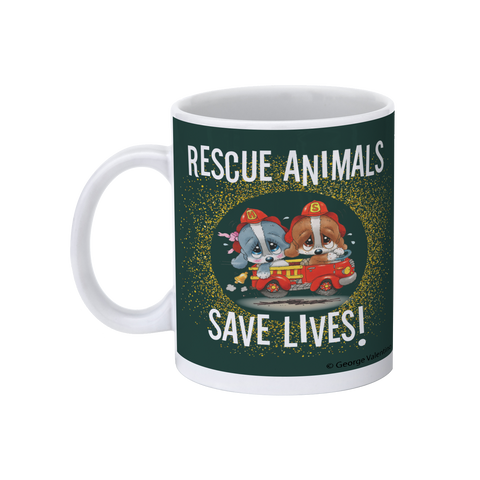 Rescue Animals Save Lives (Green) 11oz Mug