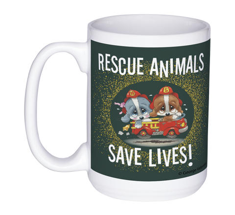 Rescue Animals Save Lives (Green) 15oz Mug