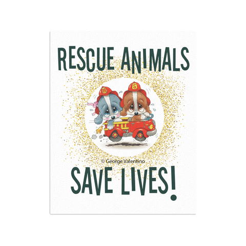 Rescue Animals Save Lives (Green) Canvas 16x20