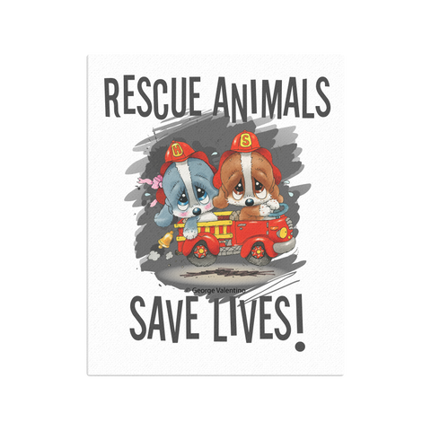 Rescue Animals Save Lives (Grey) Canvas 16x20
